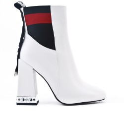 White imitation leather ankle boot with rhinestone adornment