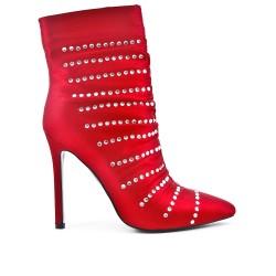 Botín rojo con tacones de diamantes de imitación