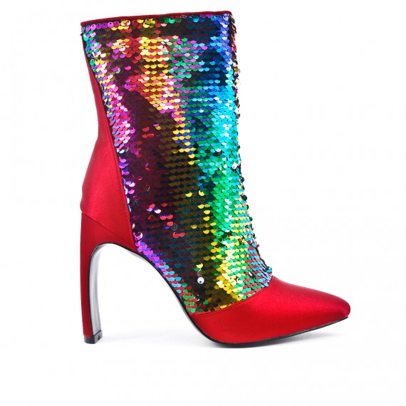 Glitter red boot with heel