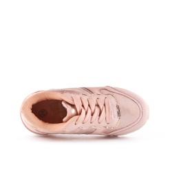 Basket enfant rose à lacet