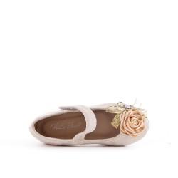 Ballerine fille beige en simili daim à fleur