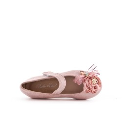 Pink girl ballerina in faux suede with flower