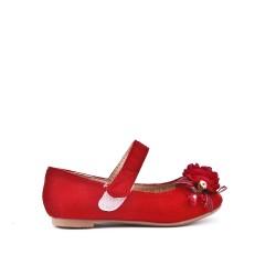 Ballerine fille rouge en simili daim à fleur