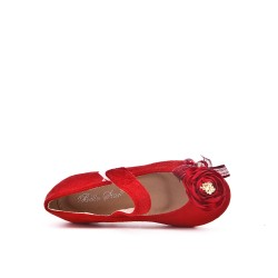 Girl red ballerina in faux suede with flower