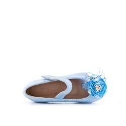 Ballerine fille bleu en simili daim à fleur