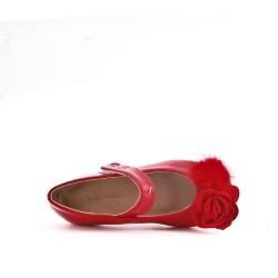 Ballerine fille rouge en vernis à fleur
