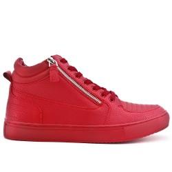 Basket rouge zippé avec lacet