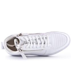 Basket blanche zippé avec lacet