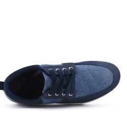 Basket bleu bi-matière à lacet