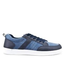Blue bi-material lace-up sneaker