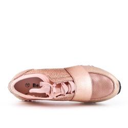 Basket rose ornée de strass à lacet