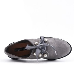 Gray Derby in Pearl Faux Suede