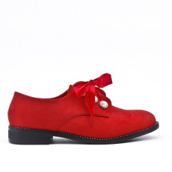 Red Derby en Pearl Faux Suede