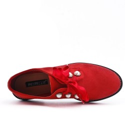 Red Derby in Pearl Faux Suede