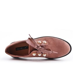 Pink Derby in Pearl Faux Suede