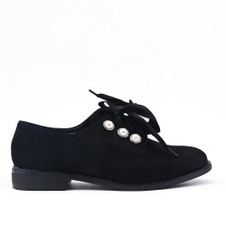 Black Derby in Pearl Faux Suede