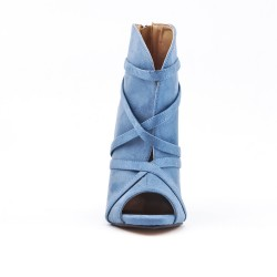 Blue ankle boot with open toe suede