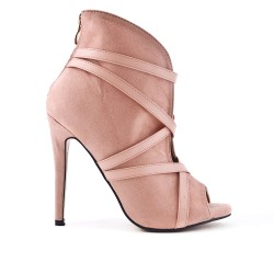 Pink ankle boot with open toe