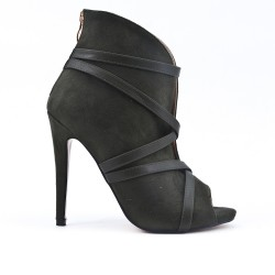 Green ankle boot with open toe