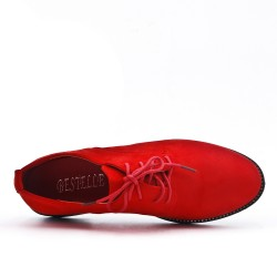 Red derby in faux suede with lace