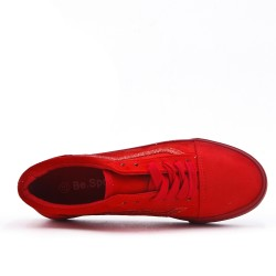Red sneaker with sequined lace detail