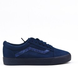 Zapatillas azul marino con detalle de encaje con lentejuelas