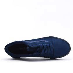 Navy sneakers with sequined lace detail