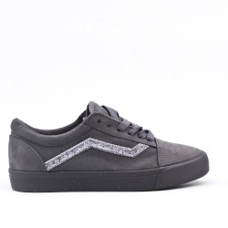 Gray sneaker with sequined lace-up detail