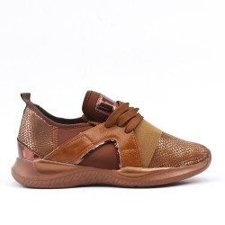 Camel lace-up sneaker