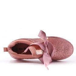 Basket rose à lacet ruban