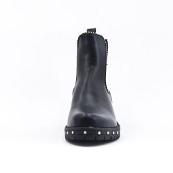 Bottine noire en simili cuir avec élastique