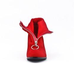 Bottine rouge zippé à talon
