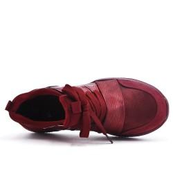 Basket rouge bi-matière à lacet