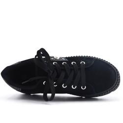 Basket noire ornée de perle avec plateforme
