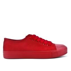 Tennis à lacet en toile rouge