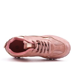 Basket rose bi-matière à lacet
