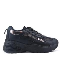 Basket noire bi-matière à lacet