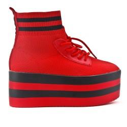 Bottine chaussette rouge avec plateforme