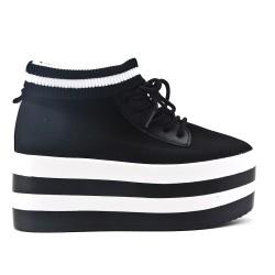 Bottine chaussette noire avec plateforme