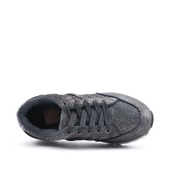 Gray kid's lace-up sneaker