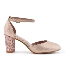 Champagne pump with sequined heel
