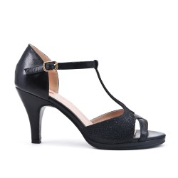 Sandale noir à talon