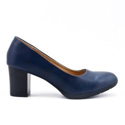 Escarpin bleu marine en simili cuir à talon