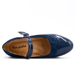 Escarpin bleu marine en simili cuir à bride bouclée