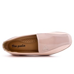 Pink faux leather comfort shoe with small wedge