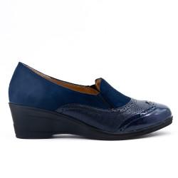 Chaussure confort bleu marine bi-matière avec petit compensé