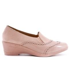 Chaussure confort rose bi-matière avec petit compensé