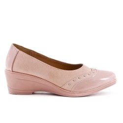 Two-material pink comfort shoe with small wedge
