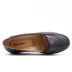Chaussure confort marron en simili cuir avec petit compensé