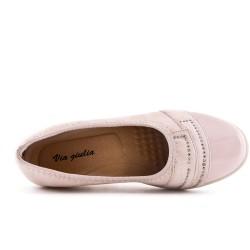 Chaussure confort rose ornée de strass